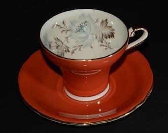 AYNSLEY, Vintage, Orange, Teacup and Saucer, Corset shape, 28, Orange Tea Cup, Bone China, Gold Rimmed, England, floral design, 2541