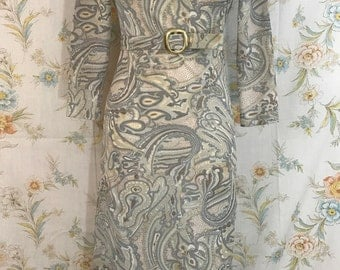 Stunning 1960's Vintage Grey Paisley Column Gown | Mad Men | Vintage Glamour | Size XS / S |