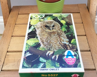 Retro Jigsaw Puzzle - 'Tawny Owlet', Arrow Games Ltd, Made in England, c1970's, 100 Pieces, Vintage Games