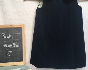 Navy Blue winter dress with collar «Claudine»