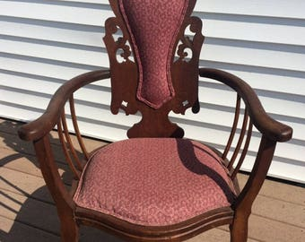 Victorian Carved Round Arm Chair, Throne Style Parlour Chair with Maroon Flower Upholstery