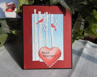 Handmade Anniversary Card: birch trees, cardinal, greeting cards, cards, male, complete card, handmade, balsampondsdesign