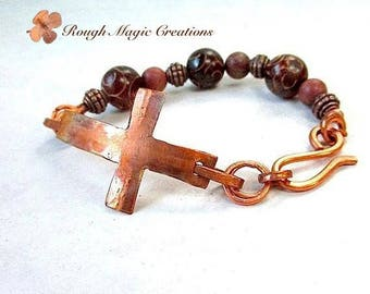 Christian Bracelet, Sideways Cross Rustic Antiqued Copper, Gemstones Carved Jade, Earthy Russet Brown Stone, Religious Gift Women & Men N240