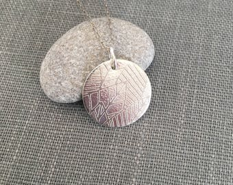 Etched Leaf Necklace - Silver Disc Necklace - Modern Silver Pendant - OOAK - Everyday Silver Necklace - Silver Circle Pendant - Leaves