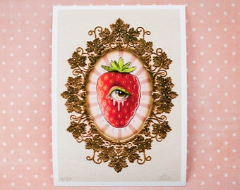 Sweet Blood of Strawberries - Limited Edition signed numbered 5x7 pop surrealism giclee Fine Art Print by MissFelix