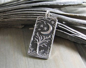 Secrets, Personalized Fine Silver Pendant, Handmade in Recycled Silver From Artisan Original Carving, by SilverWishes