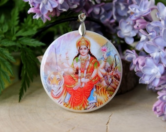 Durga Mother of Universe Hindu Goddess Polymer Clay Necklace