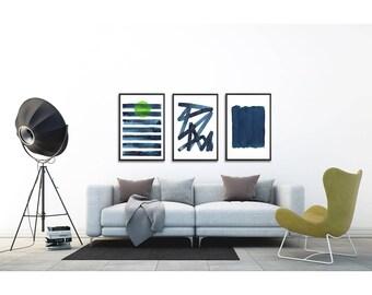Abstract Poster Set of 3 prints. Large abstract print set. Abstract Art set. Modern home decor. Minimalist wall art. Living room wall art