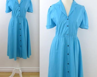 Leslie Belle 1980s does 50s Circle Skirt Shirt Dress in Turquoise in Medium Large