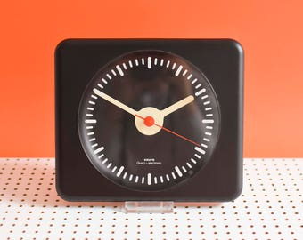 80s wall clock, black Krups clock, black German wall clock, 80s clock
