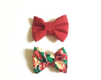 2 pack Red and Roses Bow Ties, Clip On