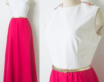 Vintage 60s Dress, 60s Maxi Dress, Fuchsia Pink Dress, Mad Men Dress, Vintage sleeveless dress,Vintage formal dress, 60s evening dress - S/M