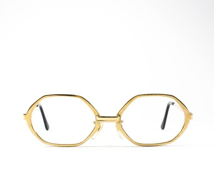 60s Glasses | Vintage Eyeglass Frame | Octagon Eyeglasses | Gold Geometric Glasses Frames - Mystery