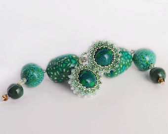 Earrings Novelove #Classic green pendants Beadsearrings # SummerJewellery with Seedbeads #Handmade #vintagestyle #Italian Style earrings