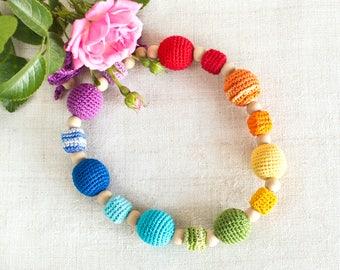 Chakra Rainbow Teethe Necklace, Babywearing Nursing Accessory, Summer Wooden Jewelry, baby teethe, Baby Shower Favor, new mum gift present