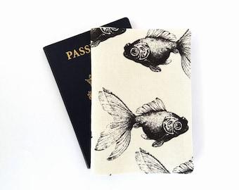 Passport cover, Koi fish Passport holder, Canvas passport wallet, Travel accessories, Nautical Travel gift, Passport protector Passport case