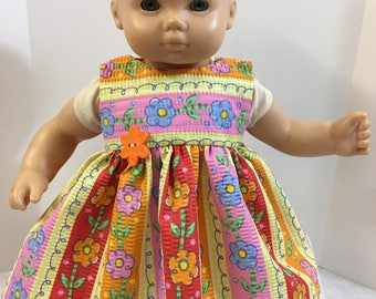 "15 inch Bitty Baby Clothes, Pretty ""COLORFUL FLOWERS"" Dress, 15 inch AG American Doll Bitty Baby Clothes or Twin, Bitty Baby Clothes, Fun!"