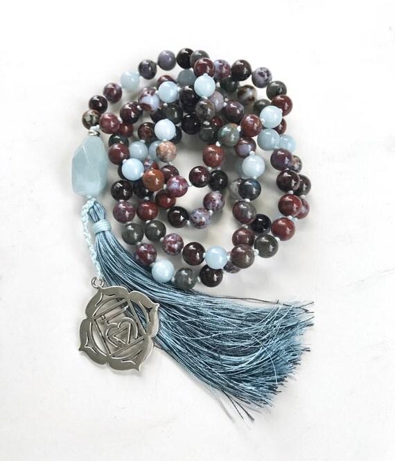 Red Lightening Agate Mala Beads, Chakra Mala Necklace, 108 Bead Mala Necklace, Aquamarine and Labradorite Mala Beads, Yoga Meditation Beads