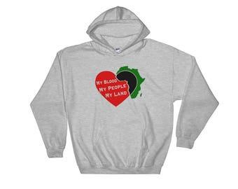 My Blood My People My Land Pro Black Hoodie // African Clothing // Afrocentric Hoodie // Hooded Sweatshirt for Men or Women
