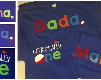 oFISHally One Shirt - One. - Family shirts - fishing theme - birthday party - fishing bobber - Set of Shirts for Kids, Babies, and Adults