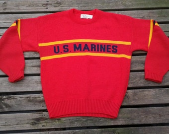"""Vintage 80's 1984 Cliff Engle """"U.S. MARINES"""" Acrylic Knit Red and Yellow and Black Sweater Made in USA large"""