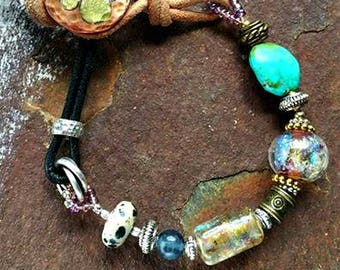 Ashes in Glass Memorial Beaded Best Friends Bracelet in Leather and Mixed Metals, Pet Memorials, Cremation Jewelry
