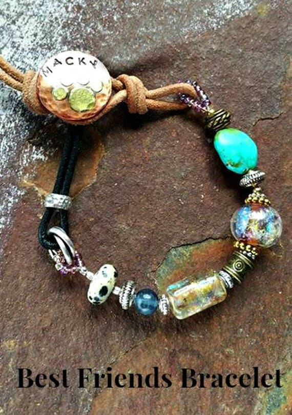 Memorial Blown Glass Best Friends Bracelet in Leather and Mixed Metals