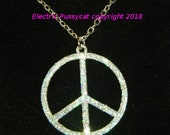 Large, Blinged Out, Silver, Peace Sign Pendant, Boho, Hippie, Rocker Choker/Necklace, on your choice of Memory Wire, Leather Cord, or Chain.