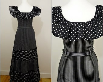 Vera Mont VINTAGE 1970s Monochrome Spots Stripes Prairie Maxi Dress UK 8 FR 36 / Frill gypsy neck / Victorian Belle / Black White