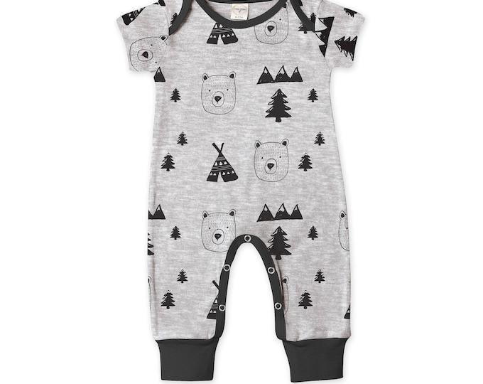 Newborn Baby Boy Coming Home Outfit Summer, Baby Boy Bear Gray Romper, Baby Girl Bear Romper Minimalist Bears Romper Tesa Babe 86BYBK