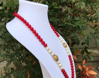 Vintage 1928 Jewelry Necklace // Filigree Red Beads and Pearls // 1980s 1928 Jewelry Company // Art Deco Style Flapper Necklace // Neo Deco