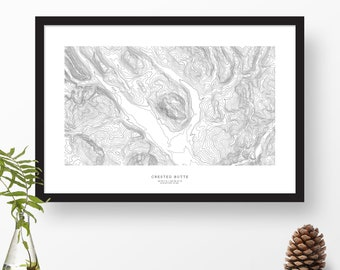Crested Butte, Colorado | Topographic Print, Contour Map, Map Art | Home or Office Decor, Gift for Mountain Lover or Skiier