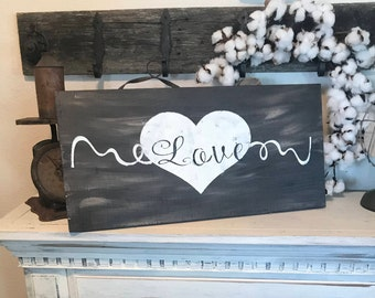 Rustic Love Sign / distressed love sign / bedroom sign / wedding sign