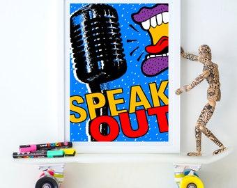 Speak Out, dorm poster, political poster, first amendment, silence breakers, free speech, free press, girl power, journalist gift, #metoo