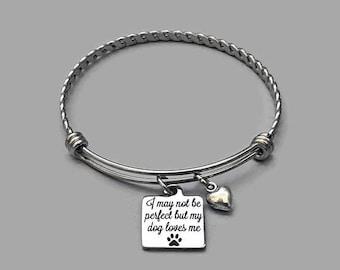Dog Bangle Bracelet, Dog Bracelet, Dog Lover Bracelet, Dog Charm Bracelt, Animal Lover Charm, Heart Bracelet, Paw Charm, Stainless Steel