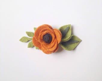 Pumpkin Felt Flower Headband or Hair Clip