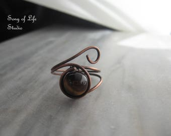 Tigers Eye Ring, Copper Ring, Eye of Horus Ring, Tigers Eye Jewelry, Copper Jewelry, Ring, Rings, Handmade Jewelry, Gifts for Her, Gifts