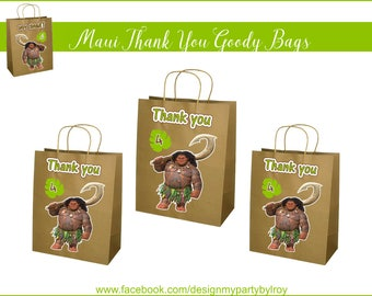 12 MAUI PAPER BAGS, Thank you Goody Bags, Brown Bags, Goody Bags, Party Favors, Party Decor,Thank you Gift, Party Supply,Natural Paper Bags.