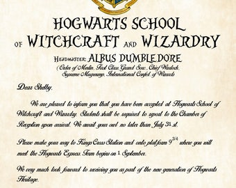 Elegant Personalized Witchcraft And Wizardry Acceptance Letter   Choose Your  Headmaster Or Headmistress   Perfect Gift For Good Ideas