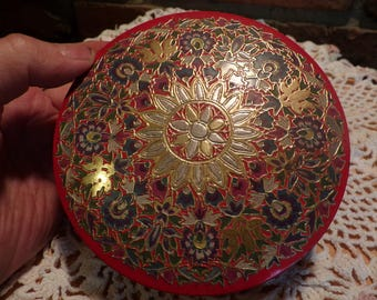 Highly Collectible Droste Haarlem Holland Round Sweet Tin, Vintage Droste Gilt Floral Metal Tin Haarlem Holland, Holland round embossed tin