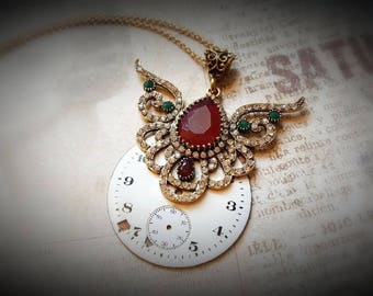 FRIDA - Steampunk Vintage Watch Face Necklace
