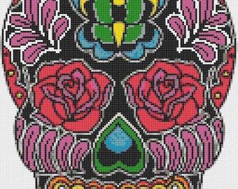 On SALE Sugar Skull butterfly - 128 x 180 stitches - Cross Stitch Pattern Pdf - INSTANT Download - B911