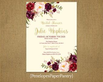 Elegant Fall Bridal Shower Invitation,Ivory,Burgundy,Marsala,Blush,Gold Print,Shimmery,Personalize,Printed Invitation,Ivory Envelopes