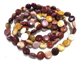 """Mookaite Jasper coin beads 14 - 15 mm smooth flat round gemstones 15.5"""" strand"""