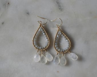 Rainbow moonstone, silverite, 14K gold filled chandelier, earrings
