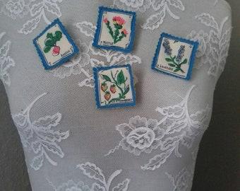 wild strawberry textile brooch.