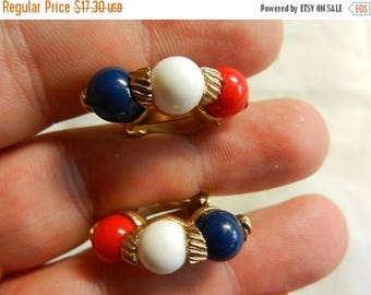 Easter Sale Vintage Marvella Red White and Blue Clip On Earrings Signed