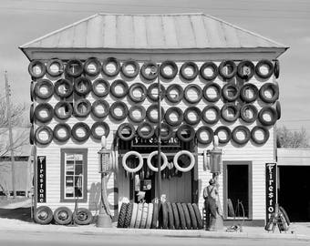 Firestone Tire Shop, 1940. Vintage Photo Reproduction Poster Print. Black & White Photograph. Automobiles, Gas Station, Garage, Texas, 40s.