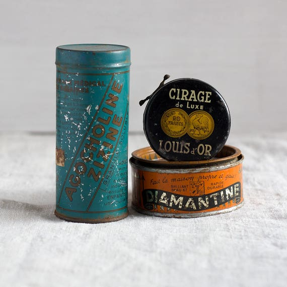CLEARENCE - Set of 3 Vintage French Printed Tins