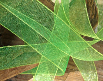 2 Yards - Bright Green Iridescent Sheer Ribbon